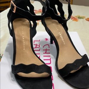 Chinese Laundry Black suede ankle heal dress shoe